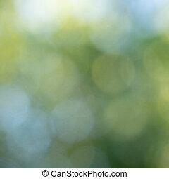 파랑, 제자리표, 떼어내다, 희미해지는, bokeh, circles., 녹색의 배경, 배치