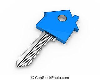 파랑 집, 3차원, 열쇠, 가정