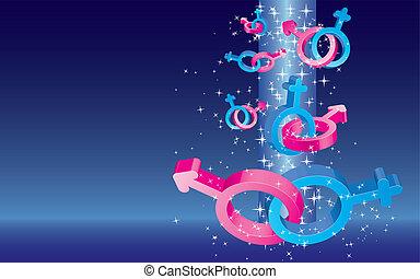 파랑, 착색되는, 원본, 삽화, 성, 배경, 벡터, 장소, 은 주연시킨다, 표시, 눈이 듯한, 발렌타인 카드