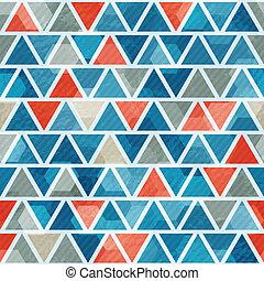 파랑, 패턴, 떼어내다, 삼각형, seamless