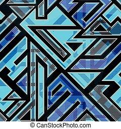 파랑, 패턴, seamless, 기술 혁신으로 인한
