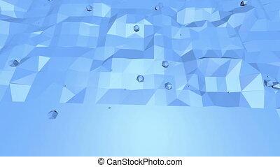 파랑, 환경, 배경, 공간, 현대, 3차원, 표면, 또는, polygonal, 배경., poly, 낮은, 박동하는, 유행, 평판이 좋은, 비어 있는, 기하학이다, 빛나는, 만화, 영광스러운, design.