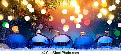 파랑, christmas;, 휴일, 배경, 와, 크리스마스, 장식, 통하고 있는, 눈
