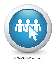 파랑, icon., 벡터, 광택 인화