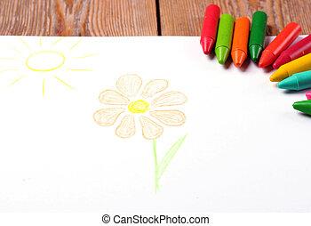 파스텔 크레용, 기름, 그리는, 태양, 서류상 꽃, 있는 것