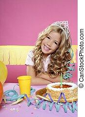 파티, 블론드인 사람, 소녀, 거의, 생일