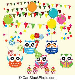 파티, 생일, 성분, 올빼미