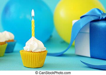 파티, 생일, 처음, 컵케이크