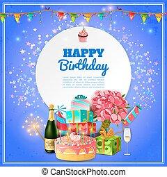 파티, 생일, 행복하다, 배경, 포스터