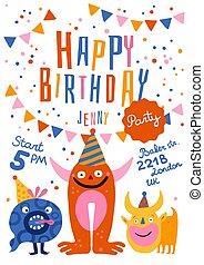 파티, 생일, 행복하다, 포스터
