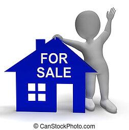 판매를 위해, 집, 쇼, 재산, 통하고 있는, 시장