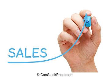 판매 증가, 그래프, 개념