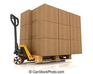 판지 박스, 통하고 있는, 깔판 트럭, 고립된, 백색 위에서