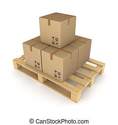 판지, 상자, pallet.
