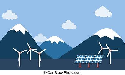 패널, 시골, 바람, 태양의, 터빈