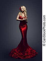 패션 모델, 빨간 드레스, 유행, 여자, 우아한, 아름다움, 가운, 소녀, 자세를 취함, 남의 눈을 피한다,...