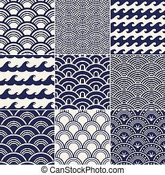 패턴, 대양, seamless, 파도