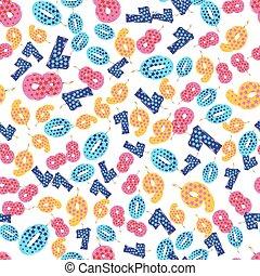 패턴, 생일, seamless, 다채로운, 초