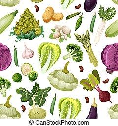 패턴, 야채, 벡터, 채식주의자, seamless