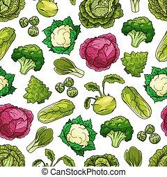 패턴, 양배추, 벡터, 야채, seamless