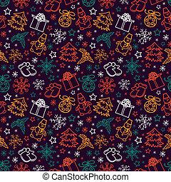 패턴, 즐거운, seamless, 크리스마스