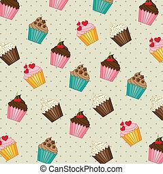 패턴, 케이크, 컵