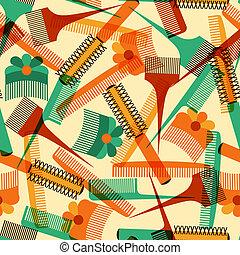 패턴, seamless, retro, 도구, style., 이발