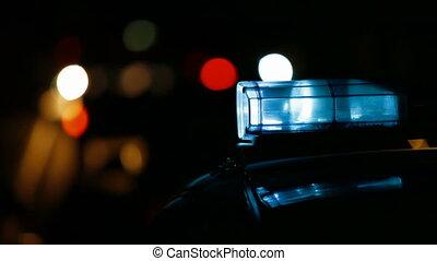 패트롤 카, 통하고 있는, 밤, 도시 길