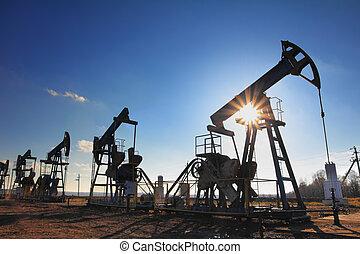 펌프, 기름, 실루엣, 일