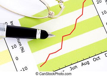 펜. 그리고, 위에의유리, 긍정적인, 소득, 그래프