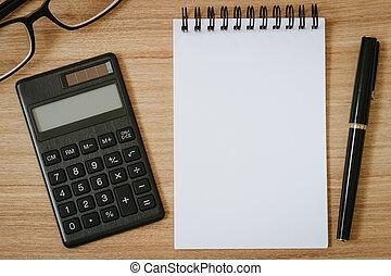 펜, 안경, 계산기, 멍청한, 메모장, 배경