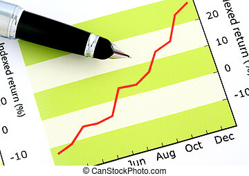 펜, 통하고 있는, 긍정적인, 소득, 그래프