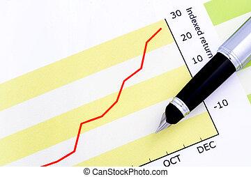 펜, 통하고 있는, indexed, 반환, 그래프