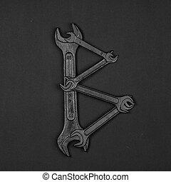 편지, b., 알파벳, 만든, 의, 수선, 도구