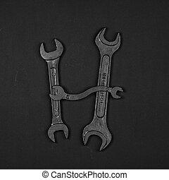 편지, h., 알파벳, 만든, 의, 수선, 도구