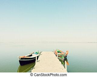 평온, 호수, 와, 2, 낚싯배