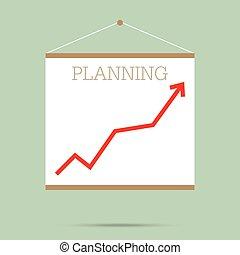 평판이 좋은, 계획, 와, 최선, 빨강, 그래프, 통하고 있는, whiteboard, 고립된