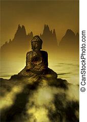 평화로운, asian-inspired, 풍경