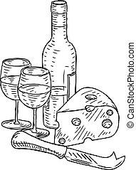 포도주와 치즈, 포도 수확, retro, 목판화, 스타일