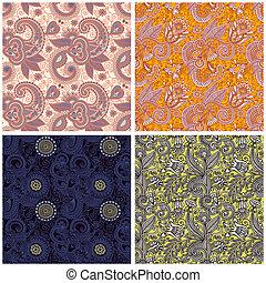 포도 수확, 꽃의, seamless, 패턴
