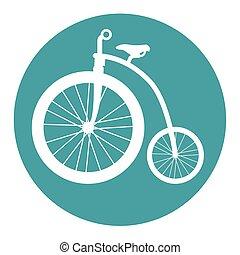 포도 수확, 자전거, 고립된, 아이콘, 디자인
