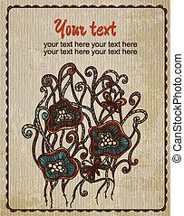 포도 수확, 카드, 와, flowers., 손, 그어진, 떼어내다, 배경., 양철통, 이다, 사용된다, 치고는, 기치, 초대, 결혼식, 카드, scrapbooking, 와..., others., 왕다운, 벡터, 디자인, element.