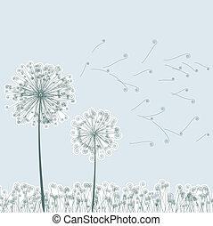 포도 수확, 2, 민들레, 에서, wind., eps8