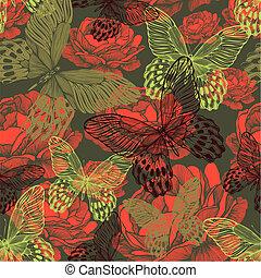 포도 수확, seamless, 패턴, 와, 나비, 와..., roses., 벡터, illustration.