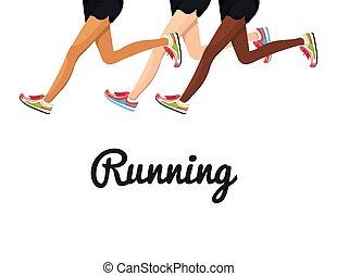 포스터, 달리기, 다리, 디자인, 고립된
