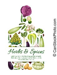 포스터, 채식주의자, 벡터, 야채, 신선한