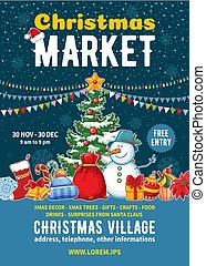 포스터, 크리스마스, 시장, 본뜨는 공구