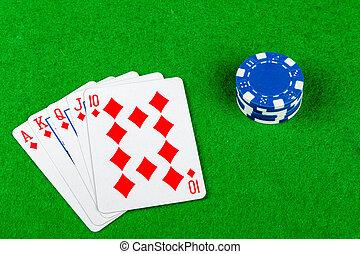포커 게임, 로이얼 플래쉬, 다이아몬드, 와, 내기, 칩