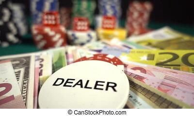 포커, 돈, 은 깎뚝썰n다, 카드, 칩을 거는 것, 빨강