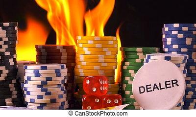 포커, 불, 은 깎뚝썰n다, 카드, 칩을 거는 것